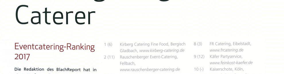 Top-Platzierungen im Event-Catering-Ranking des BlachReports 2016/17